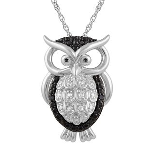 925 Sterling Silver 1/10 ct T.W. White and Black Diamond Owl Pendant with Chain (I-J, I2-I3)
