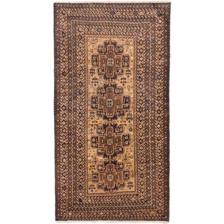 eCarpetGallery Royal Baluch Brown/Ivory Wool Hand-knotted Rug (4'0 x 7'4)