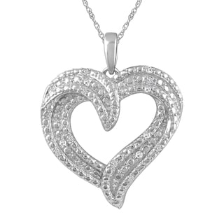 925 Sterling Silver 1/10ct T.W. Diamond Heart Pendant with Chain (I-J, I2-I3)