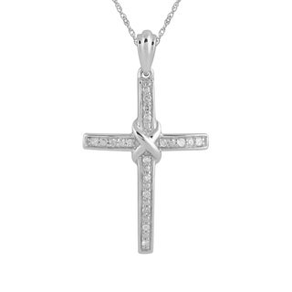 925 Sterling Silver 1/10ct T.W. Diamond Cross Pendant with Chain (I-J, I2-I3)