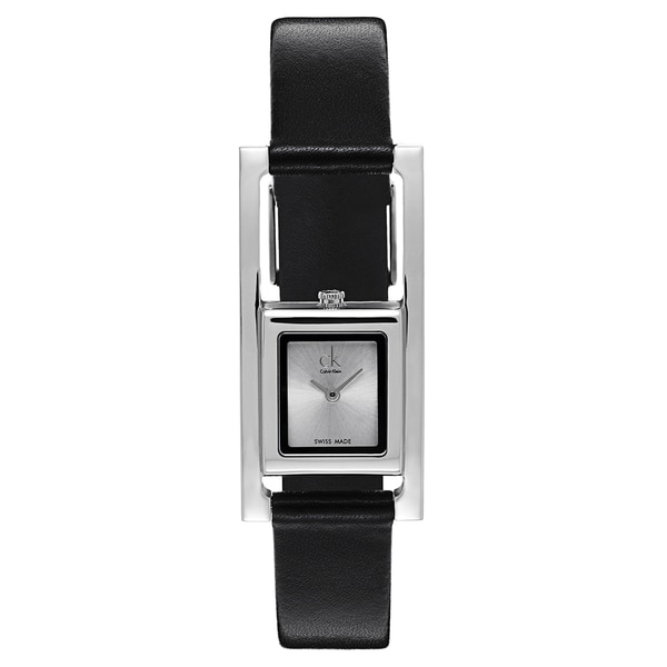 Calvin Klein Ladies' Stainless Steel Black Leather Watch