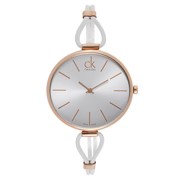 Calvin Klein Women's Rose Gold White Leather Watch 19314877