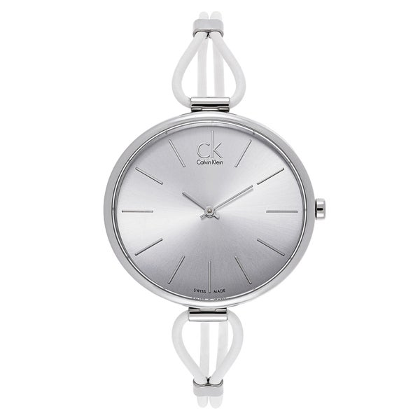 Calvin Klein Ladies' Stainless Steel White Leather Watch