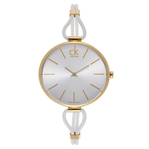Calvin Klein White/Silvertone Mineral/Gold Watch