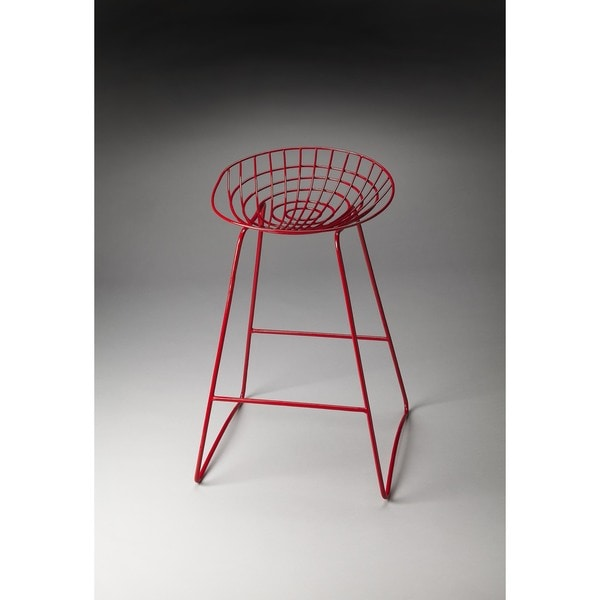Butler Ludwig Red Iron Bar Stool