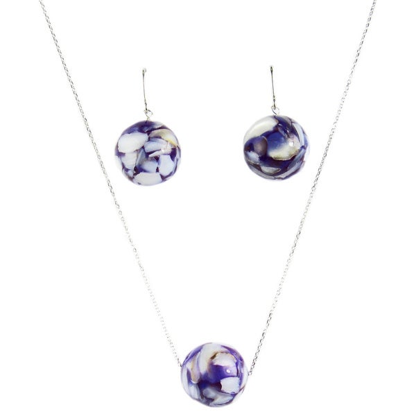 Pearl Lustre White Sterling Silver Purple Mother of Pearl Earrings and Pendant Set