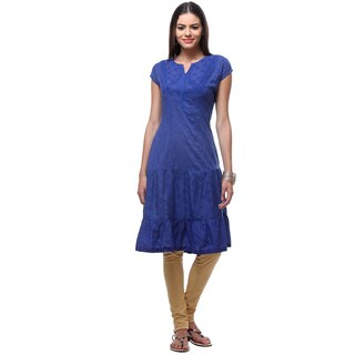 In-Sattva Women's Indian Embroidered Patterned Short Sleeved Kurta Dress
