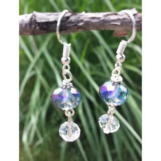 Mama Designs Handmade Beaded Blue Drop Style Earrings