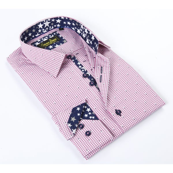 Banana Lemon Classic Button Down Pink/White Gingham Dress Shirt