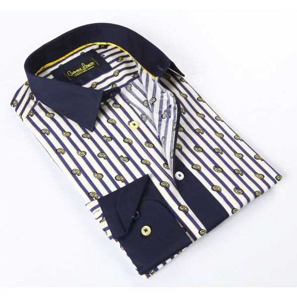 Banana Lemon Classic Multi Color Stripe Dress Shirt