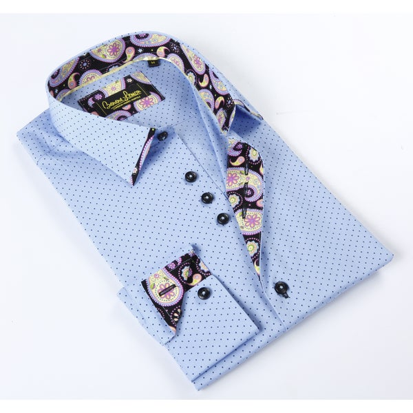 Banana Lemon Classic Button Down Polka Dot Dress Shirt