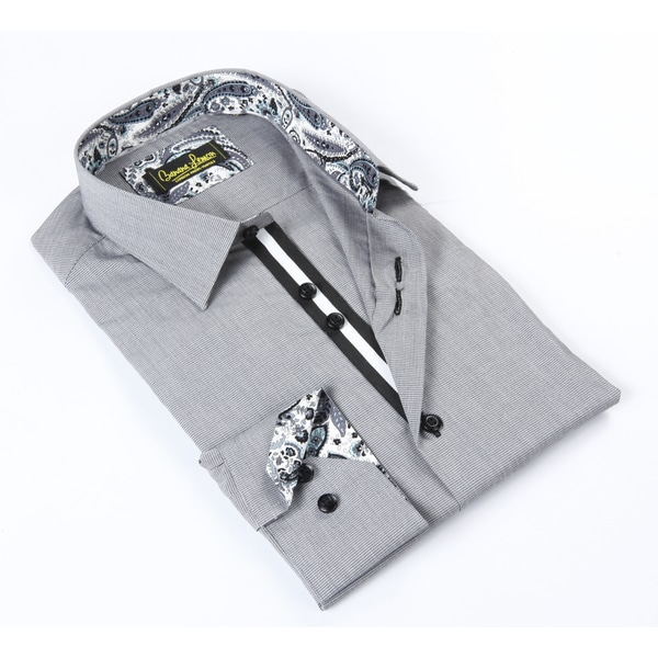Banana Lemon Classic Button Down Black/White Mini Check Dress Shirt