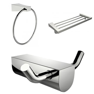 Chrome Plated Multi-Rod Towel Rack With Towel Ring And Robe Hook Accessory Set