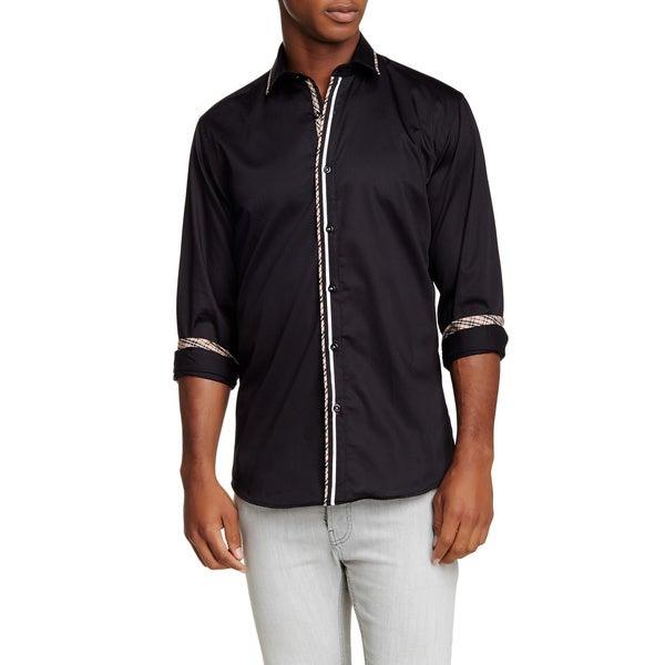 Banana Lemon Men's Mojo Solid Black/White Trim Cotton Long-sleeve Shirt