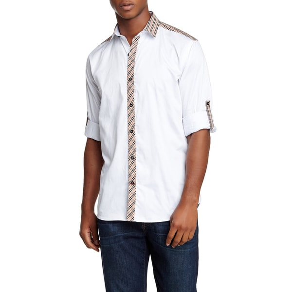 Banana Lemon Abe Long-sleeved Solid White Trimmed Shirt