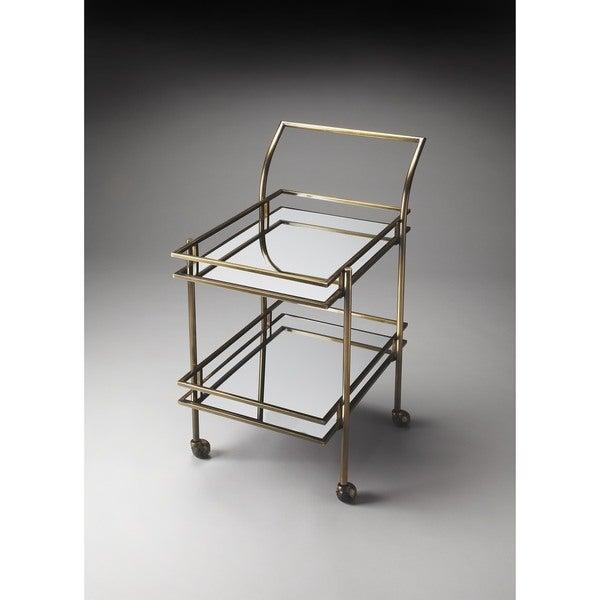 Butler Gatsby Antique Brass Bar Cart
