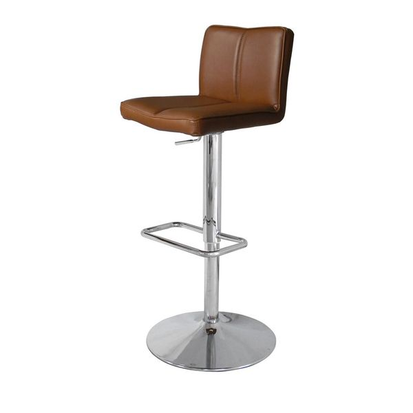Charlie Tan Chrome/Faux Leather Adjusable Barstool