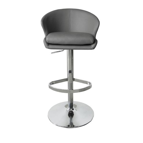 Beverly BS1338P-GRY Grey/White Metal/Faux Leather Swivel Barstool