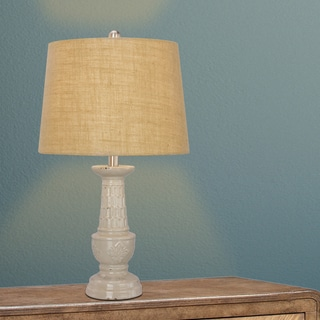 24-inch Weathered Natural Ceramic Table Lamp