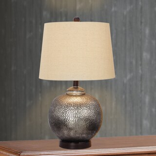 24-inch Antique Brown Mercury Glass and Oil Rubbed Bronze Metal Table Lamp