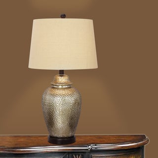 27.5-inch Antique Brown Mercury Glass and Oil Rubbed Bronze Metal Table Lamp
