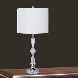 28-inch Clear Crystal & Chrome Metal Table Lamp