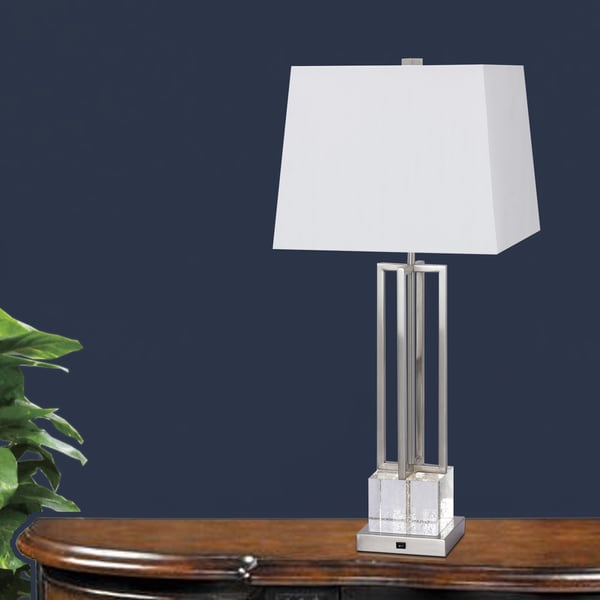 30-inch Crystal & Brushed Steel Metal Table Lamp with LED Night Light