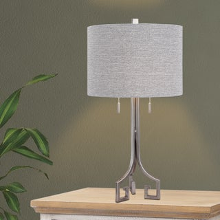 27-inch Modern Metal Table Lamp in Antique Silver