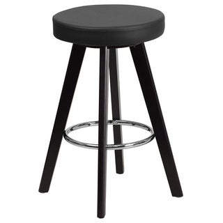 Offex Trenton Series OF-CH-152601-VY-GG Vinyl Upholstery and Cappuccino Wood Frame Contemporary Barstool