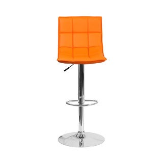 Offex Contemporary Quilted Vinyl Upholstery Adjustable-height Chrome Base Barstool