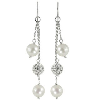 Pearls for You White Sterling Silver Freshwater Pearl Crystal Bead Earrings