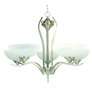 Rick 5-light Satin Nickel Finish Chandelier With White Cloud Glass