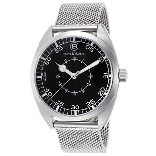 Ben & Sons Men's Silvertone Stainless Steel Watch with Black Dial