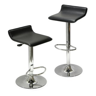 Winsome Spectrum Black Faux Leather Seat Adjustable Air Lift Stool- Set Of 2