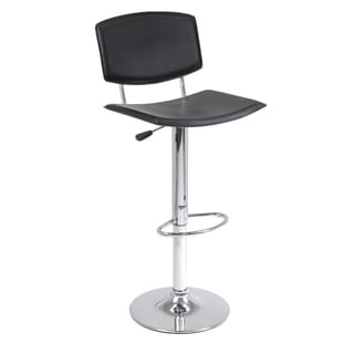 Winsome Spectrum Curved Seat Faux Leather Adjustable Air Lift Stool Black