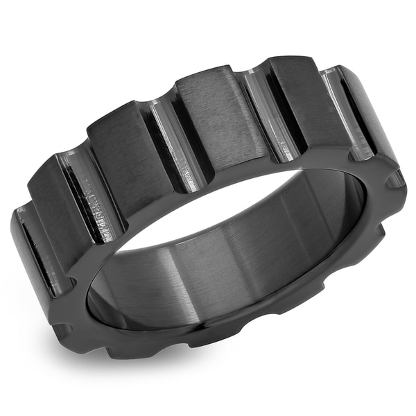 Black IP Stainless Steel Gear Cog Ring