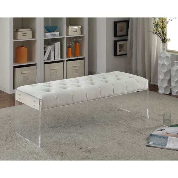 Meridian Jane Cream Velvet Bench