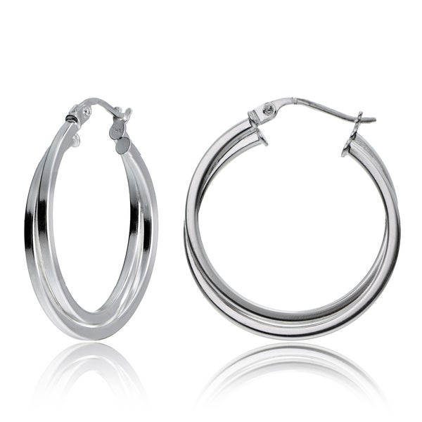 Mondevio Sterling Silver Intertwining Square-Tube Polished Hoop Earrings, 25mm