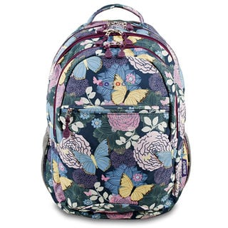 J World Cornelia Secret Garden Floral Multicolor Polyester Adjustable-strap Lined Campus Backpack