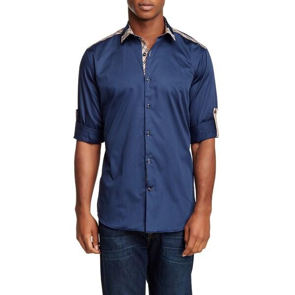 Banana Lemon Men's Martin Solid Blue Cotton With Brown Plaid Shoulder Trim Long Sleeve Shirt