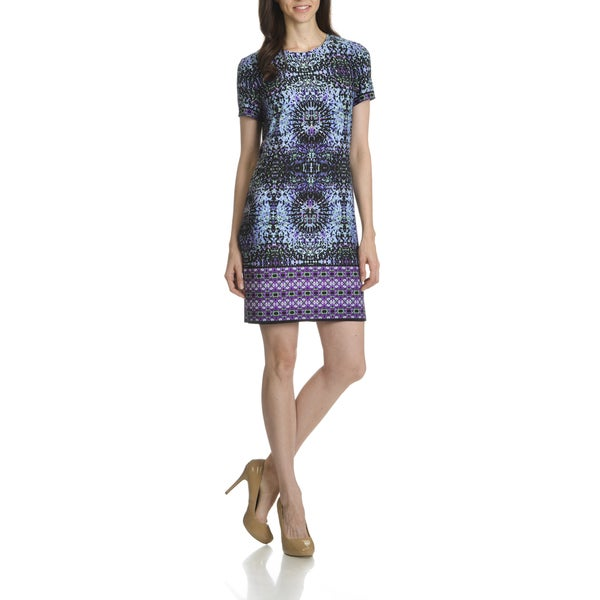 London Times Women's Prism Border Print Shift Dress