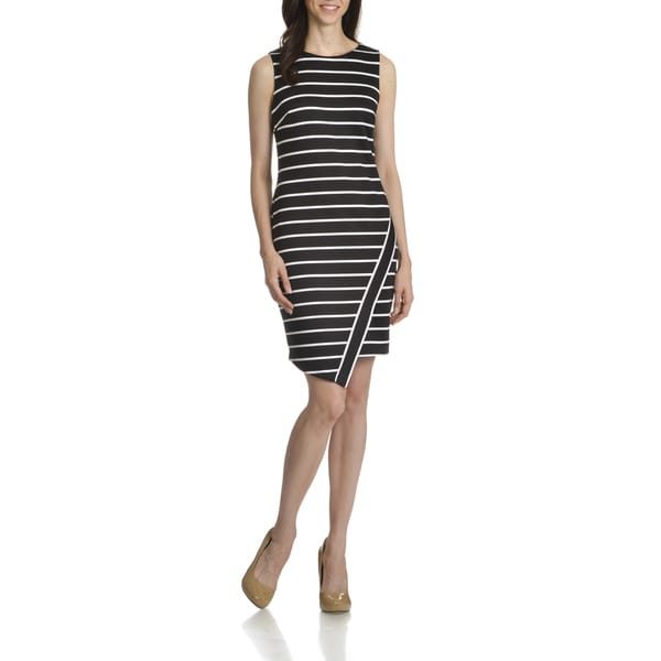 London Times Women's Deauville Striped Asymmetrical Hem Sheath Dress
