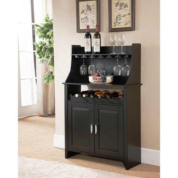 K&B WR1345 Black Finish Wood and Veneer Wine Rack