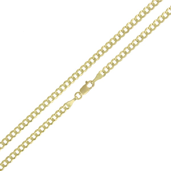 10k Gold 3mm Solid Cuban Curb Link Chain Necklace