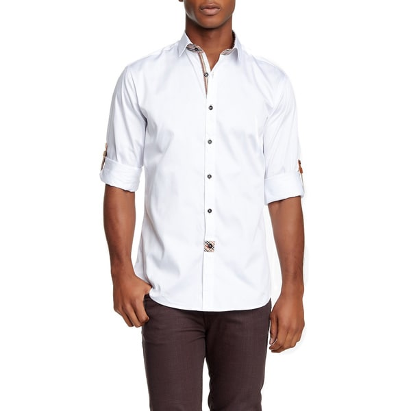 Banana Lemon Men's Al Solid White Cotton Button Down Long Sleeve Shirt
