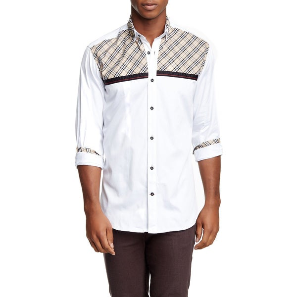 Banana Lemon Men's Peter Long-sleeved Solid White Shirt with Brown Plaid Design