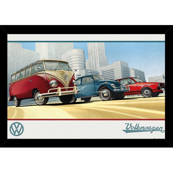 VW Camper Print with Contemporary Poster Frame