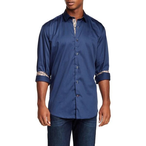 Banana Lemon Men's Sam Long-sleeved Solid Blue Shirt