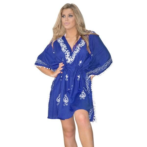 La Leela Beach Hand Embroidered Swimwear Short Dress Bikini Cover up TOP blue