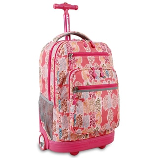 J World Sundance Pink Forest Rolling Backpack